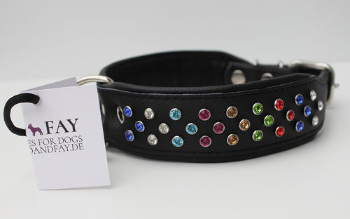 Hundehalsband Echtleder  - BLACK SERIES - Strass - Mixed Colours