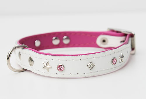 Hundehalsband Echtleder - WHITE SERIES - Strass - Self - weiss/pink