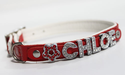 Hundehalsband Echtleder - RED SERIES - Name - rot/weiss