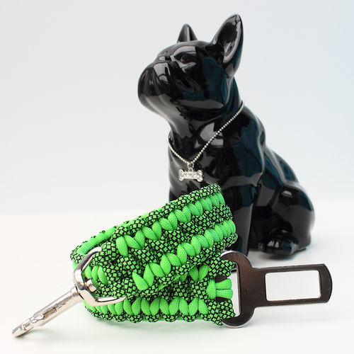 Autosicherheitsgurt - 3,5cm - neon green & neon green diamonds