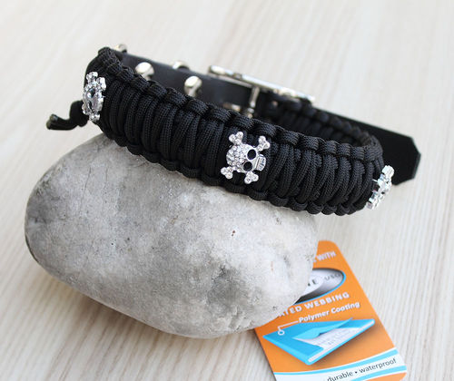 HB - Biothane/Paracord - 30mm - DOUBLE COBRA - BLACK - Scull