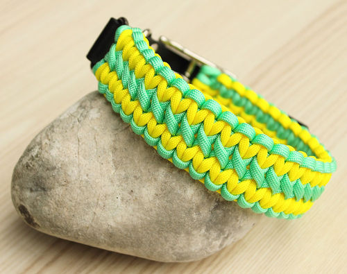 HB - Biothane/Paracord - 35mm - WIDE SOLOMON - MINT & NEON YELLOW - Variante 1
