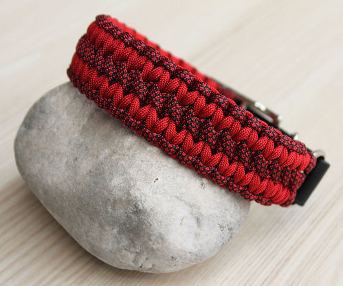 HB - Biothane/Paracord - 35mm - WIDE SOLOMON - IMPERIAL RED & IMPERIAL RED DIAMONDS - Variante 1