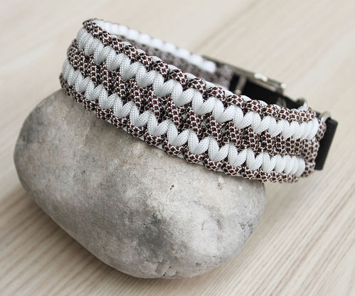 HB - Biothane/Paracord - 35mm - WIDE SOLOMON - WHITE & WALNUT WHITE DIAMONDS - Variante 1