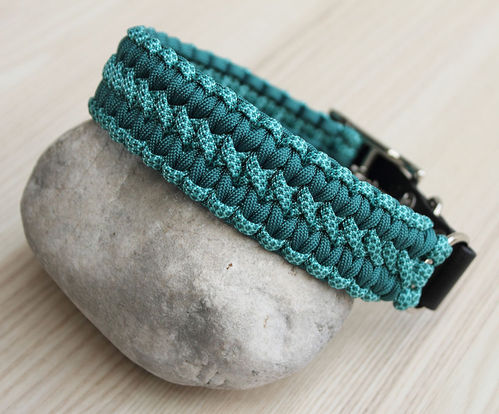 HB - Biothane/Paracord - 35mm - WIDE SOLOMON - TEAL & TURQUOISE DIAMONDS - Variante 1