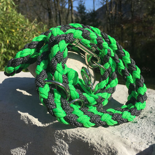 Leine_Para - 8-fach rund. - NEON GREEN & CHARGOAL GREY DIAMONDS