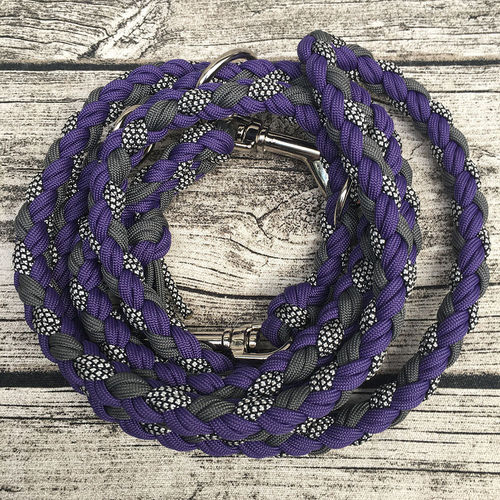 Leine_Para - 8-fach rund. - SILVER DIAMONDS & CHARCOAL GREY & PURPLE